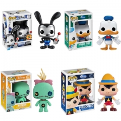 4PCS Funko Pop Disney Oswald Rabbit #65 - Donald Duck #31 - Scrump #126 - Pinocchio #06 Vinyl Figure